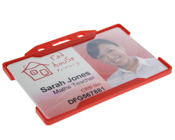 Red single-sided open-faced ID card holder and secure photo ID card