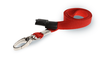 Plain red lanyard with metal J-clip and safety breakaway