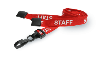 Red Pre-Printed staff lanyard with plastic J-clip and safety breakaway