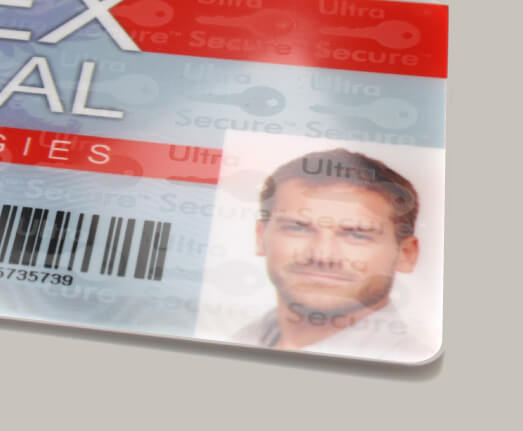 Secure photo ID card showing Magicard Holokote security feature.