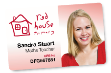 ID Card. Red House Pimary, Sandra Stuart. Maths Teacher.
