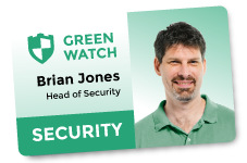 ID Card. Green Watch, Brian Jones, Head of Security.