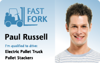 ID Card. Reads Paul Russel, Fast Fork.
