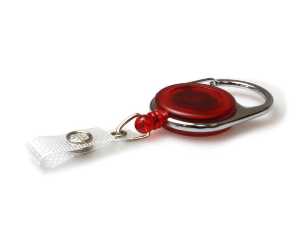 Red Carabineer Card Reel With Strap Clip - Pack of 50