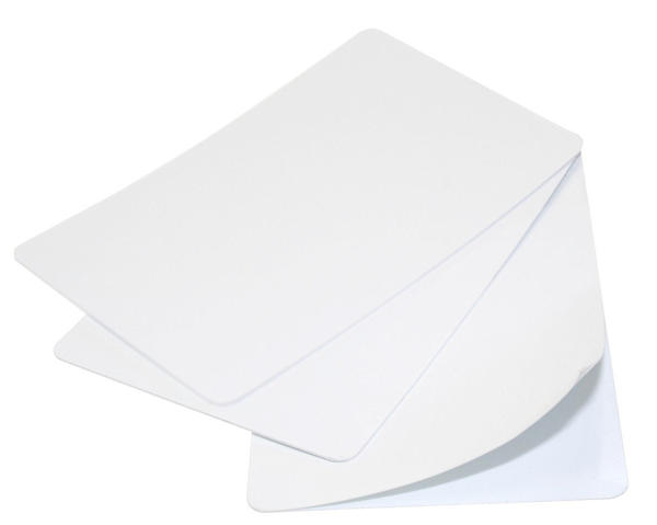 Pack of 100 Premium White 320 Micron Self Adhesive Cards with 175 micron paper backing