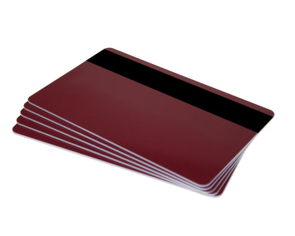 Pack of 100 Burgundy Premium 760 Cards with Hi-Co Magnetic Stripe