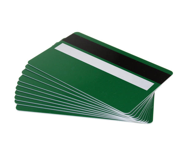 Pack of 100 Forest Green 760 Micron Cards with Hi-Co Magnetic Stripe & Signature Panel