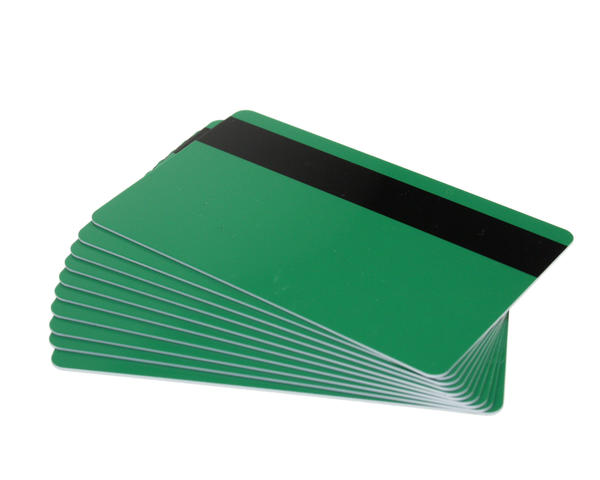 Pack of 100 Green Premium 760 Micron Cards with Hi-Co Magnetic Stripe