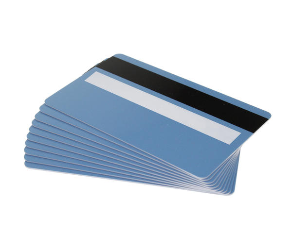 Pack of 100 Light Blue 760 Micron Cards with Hi-Co Magnetic Stripe & Signature Panel