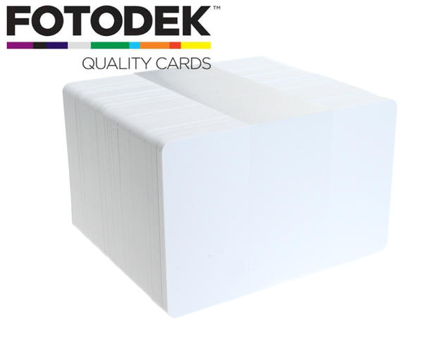 Pack of 100 Fotodek Branded White 760 Micron PVC Cards