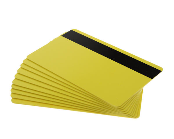 Pack of 100 Yellow Premium 760 Micron Cards with Hi-Co Magnetic Stripe