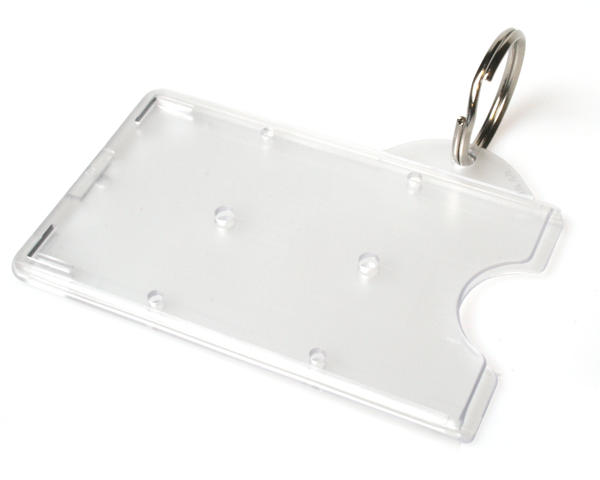 Enclosed Rigid Holders With Key Ring Attachment - Pack of 100