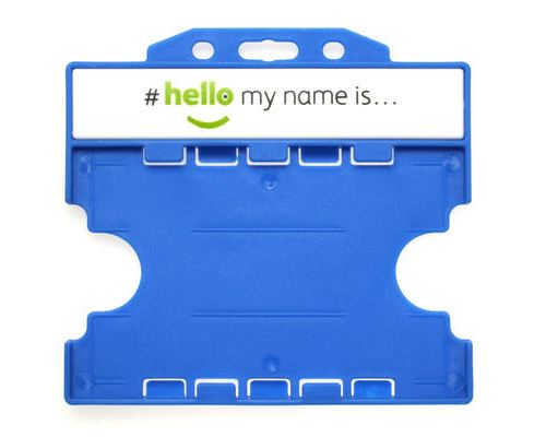 'Hello My Name Is' Light Blue Open-faced Dual-Sided Card Holders, Ref:  - Pack of 100