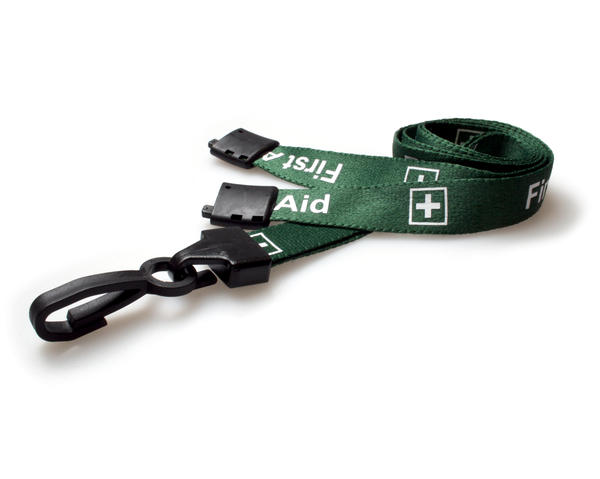 Green First Aid Lanyard with Breakaway and Plastic J Clip – Pack of 100