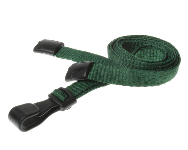 Dark Green Breakaway Lanyards with Plastic J-Clip - Pack of 100