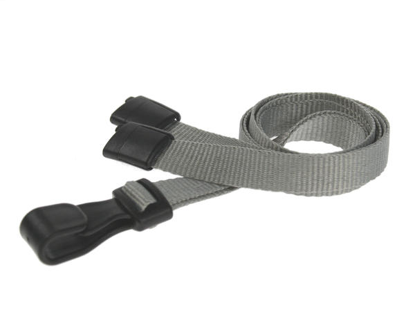 Grey Breakaway Lanyards with Plastic J-Clip - Pack of 100