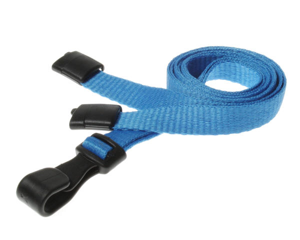 Light Blue Breakaway Lanyards with Plastic J-Clip - Pack of 100