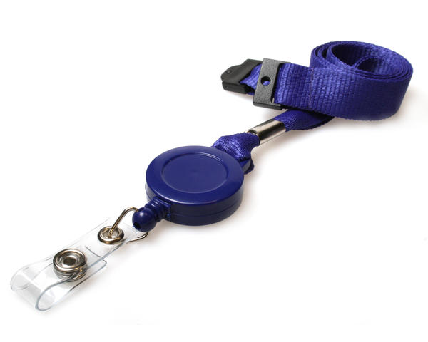 Access Card Lanyards Integrated Card Reel Nv Blue - Pack of 50