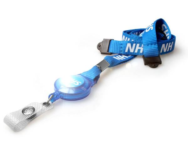 Pack of 100 NHS 2 Breakaway Lanyards with attached Card Reel
