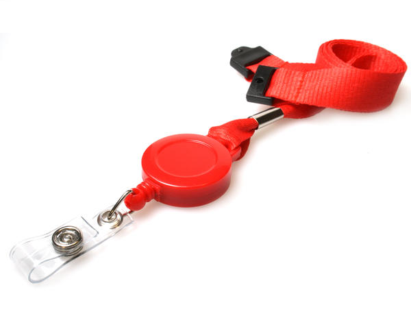 Pack of 50 Access Card Lanyards with Integrated Card Reel - Red