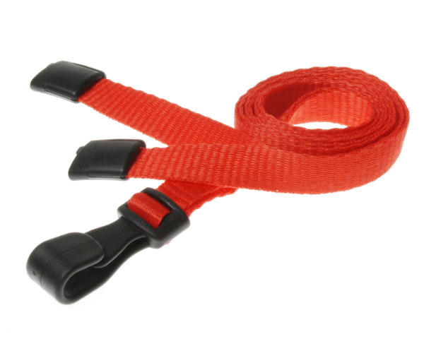 Pack of 100 Red Breakaway Lanyards with Plastic J-Clip