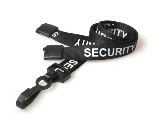 Pack of 100 15mm Security Black Lanyards with Plastic J-Clip