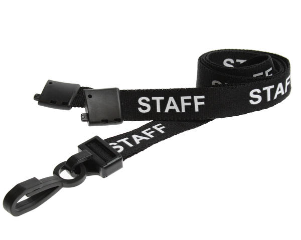 Pack of 100 15mm Staff Black Lanyards with Plastic J-Clip