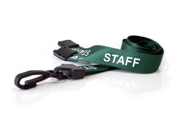 15mm Staff Green Lanyards with Breakaway and Plastic J Clip - Pack of 100