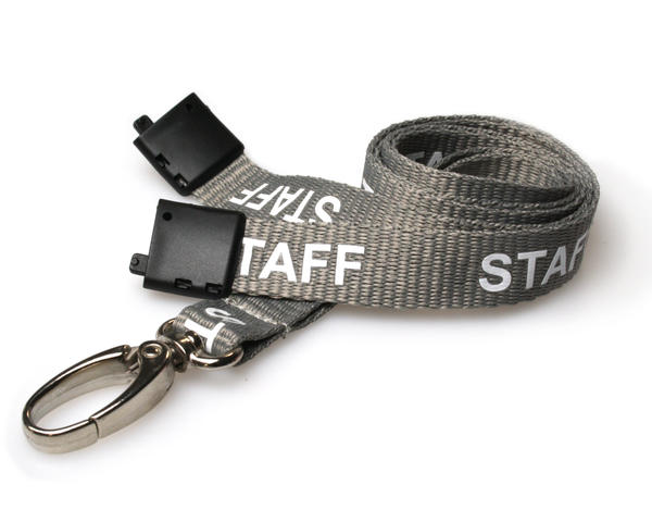 Grey Staff Lanyards with Breakaway and Metal Lobster Clip - Pack of 100
