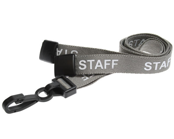 Pack of 100 15mm Staff Grey Lanyards with Plastic J-Clip