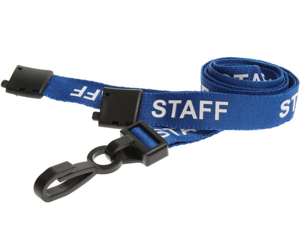 Pack of 100 15mm Staff Blue Lanyards with Plastic J-Clip