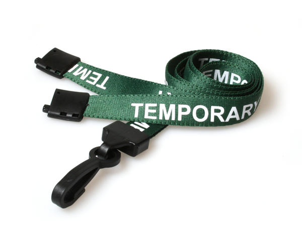 Pack of 100 15mm Temporary Green Lanyards with Plastic J-Clip