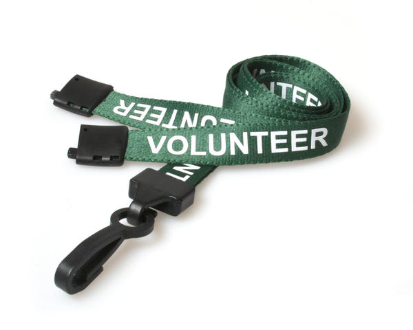 Pack of 100 15mm Volunteer Green Lanyards with Plastic J-Clip