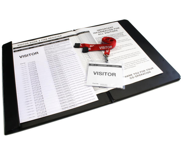 School Manual Visitor Signing-In Pack  School Visitor Passes  Red Visitor Lanyards  Vinyl Visitor Pass Holders  Writing Board