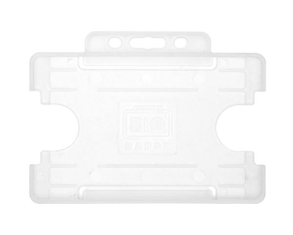 Clear Single-Sided BioBadge Open Faced Biodegradable ID Card Holders -  Landscape (Pack of 100)