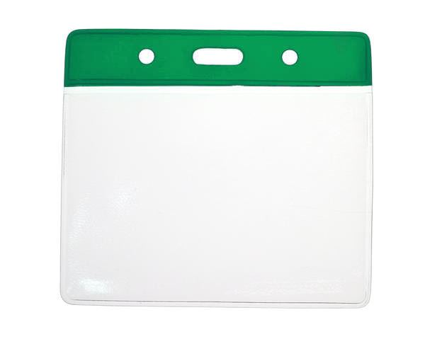 Green Top Vinyl Badge Holders C/C Size - Landscape - Pack of 100
