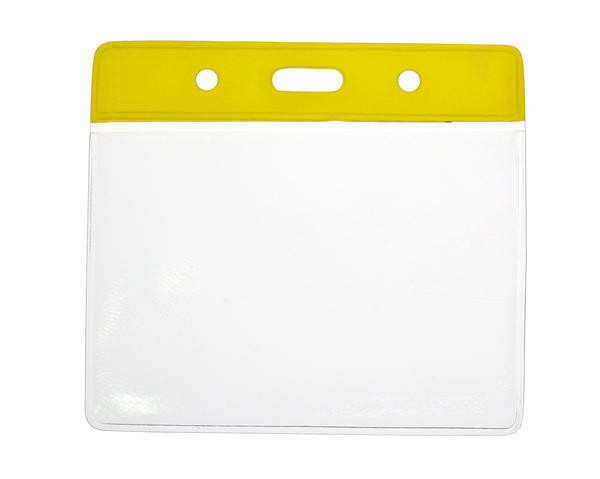 Yellow Top Vinyl Badge Holders C/C Size - Landscape - Pack of 100