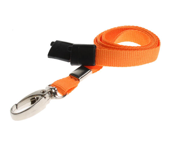 Pack of 100 Orange Breakaway Lanyards Metal Lobster Clip