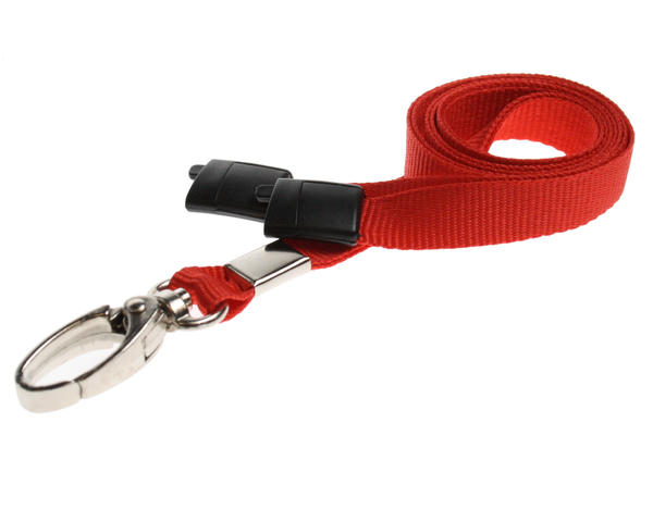 Pack of 100 Red Breakaway Lanyards with Metal Lobster Clip