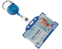 Blue Carabineer Card Reel With Strap Clip - Pack of 50