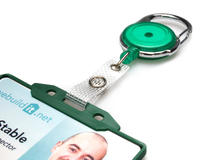 Green Carabineer Card Reel With Strap Clip - Pack of 50