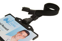 Black Breakaway Lanyards With Plastic J-Clip - Pack of 100