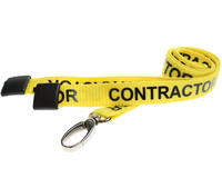 Pack of 100 15mm CONTRACTOR Yellow Lanyards Met Lobster Clip