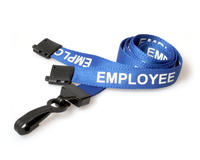 Employee Blue Lanyards with Plastic J-Clip - Pack of 100