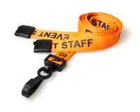 Event Staff Lanyards with Plastic J-Clip - Pack of 100