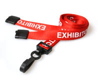 Exhibitor Red Lanyards with Plastic J-Clip - Pack of 100