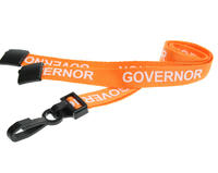 Pack of 100 15mm Governor Orange Lanyards w Plastic J-Clip