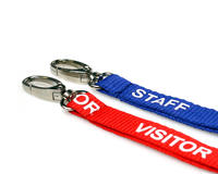 50 Royal Blue Staff & 50 Red Visitor Lanyards with Lobster