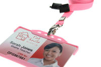 Pack of 100 Pink Breakaway Lanyards Metal Lobster Clip