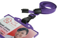 Pack of 100 Purple Breakaway Lanyards w Plastic J-Clip